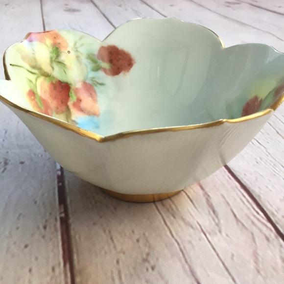 Vintage Other - Vintage Gold Trim Strawberry Print Bowl